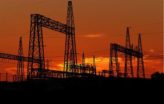 Sunset, Factory, Electric, The Industry, Silhouette