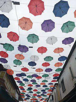 Umbrella, Colors, Color, Rain, Street, Beautiful, Decor