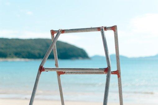 Sea, Ladder, White Sandy Beach, Sand, Sandy