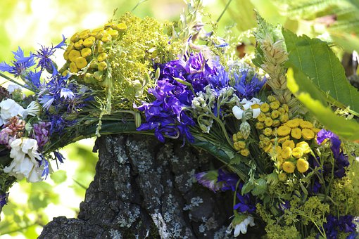 Wreath, Colored, Folk, Folklore, Flowers, Spring