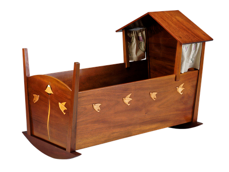 Cradle, Furniture, Baby Bed, Mahogany, Maple