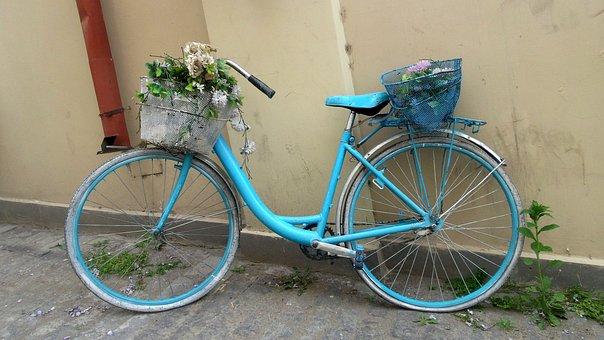 Bike, Retro, Nostalgia, Blue, Old, Flower Bed