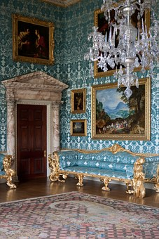 Salon, Elegant, Blue Silk, Wall Covering, Upholstery