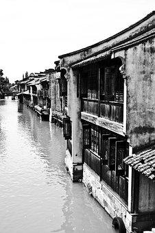 Wuzhen, Black And White, Building, Ancient Architecture