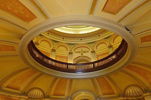Interior, Dome, Ornate, Capitol, Building, California