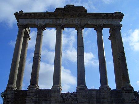 Foro Romano, Columns, Sky, Chiaroscuro, Roman Forum