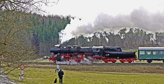 Steam Locomotive, Steam Train, Mountain Ride, Eifel