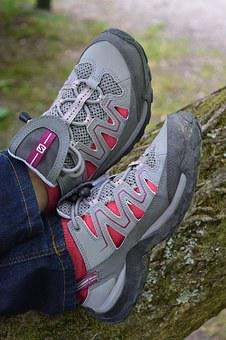 Shoes, Feet, Sports Shoes, Foot, Go, Legs, Red, Hiking