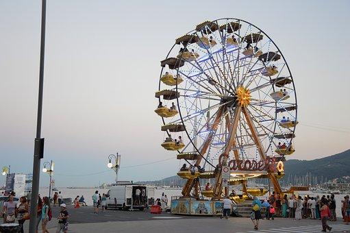 Ferris Wheel, Funfair, Sea, Porto, Pier, Fun, Family