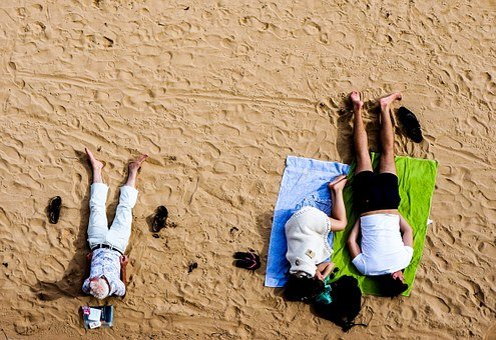 Beach, Sand, People, Girl, Guy, Man, Elderly, Senior