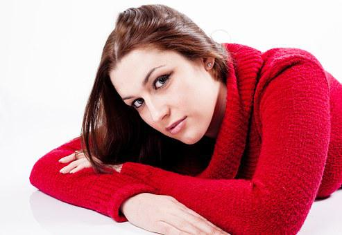 Young, Woman, Female, Lying Down, Jumper, Red, Girl