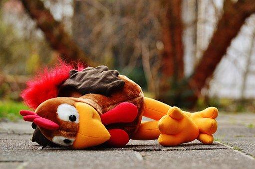 Hahn, Funny, Lying, Stuffed Animal, Toys, Children