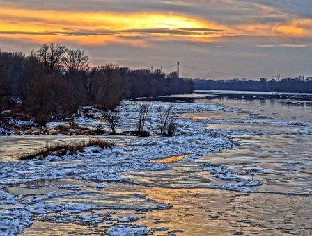Vistula, Bydgoszcz, River, Water, Winter, Frozen, Ice
