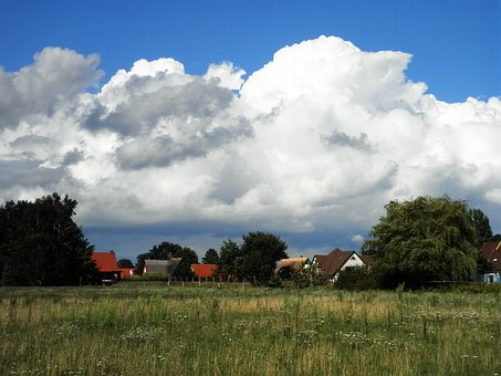Landscape, Village, Big Cloud, Homes, Field