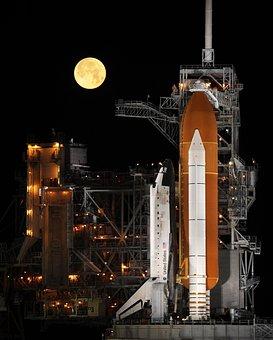Rocket Launch, Night, Space Shuttle, Launch Pad