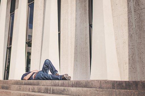 Resting, Lying, Urban, Burnout, City, Man, Tired, Rest