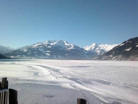 Austria, Zell Am See, Snow, Winter, Lake, Mountains
