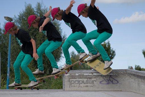 Skateboard, Trick, Multi, Skateboarder, Legs, Outdoor