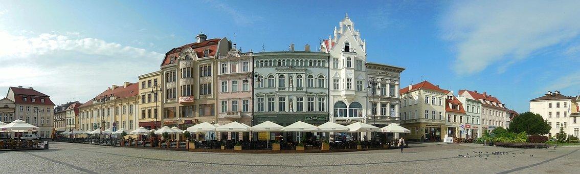 Panorama, Market Square, Bydgoszcz, Poland, Parasols