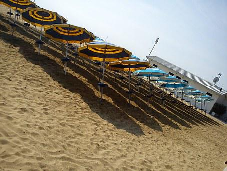 Parasols, Beach, Tilted, Rotated, Askew