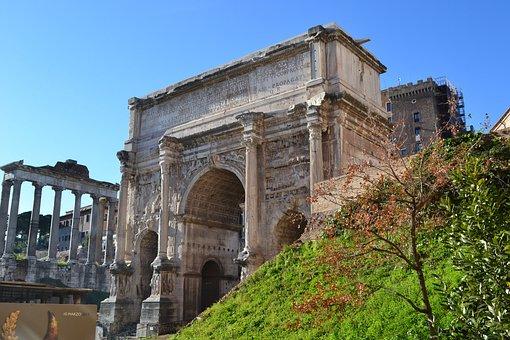 Roman Forum, Rome, Columns, Italy, Arc, Portico