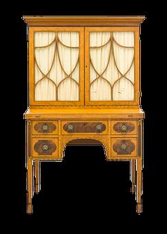 Writing Desk, Desk, Furniture, Antique, Old, Satinwood