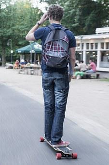 Skateboard, Park, Man, Backpack, Skater, Lifestyle