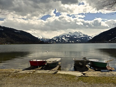 Lake, Boats, Mountains, Sky, Solitude, Quiet