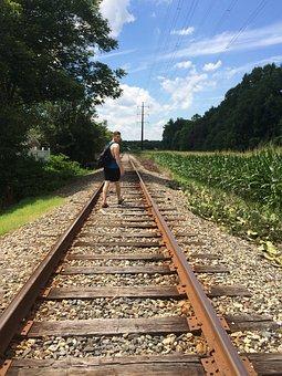 Rails, Railroad, Tracks, Young People, Teens, Teen Boy