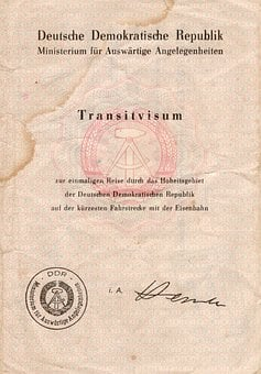 Transit Visa, Ddr, Old Paper, Dirty, Past, Antique