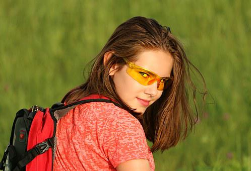Tourist, Girl, Backpack, Vacation, Halt, Glasses