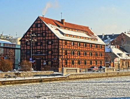 Bydgoszcz, Waterfront, House, Timber Framing, Historic