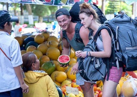 Vietnam Tourism, Watermelon, Backpacker