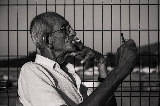 Old Man, Cigarette-smoking Man, Cigarette, Man, Old