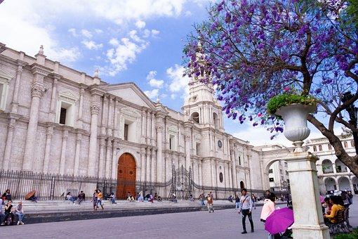 Plaza De Armas, Arequipa, Sky, Day, People, City