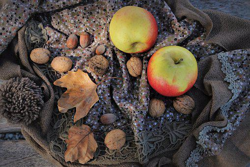Autumn, Apple, Nuts, Brown, Collections, Foliage