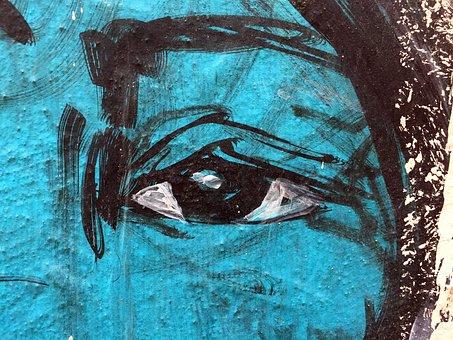 Graffiti, Eye, Face, Portrait, Wall, Artwork, Chaos