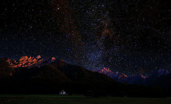 Sky, Star, Starry Sky, Milky Way, Mountains, Alpine