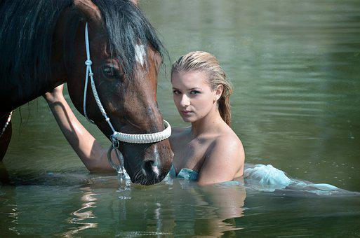 Nature, Water, Swimming, Summer, Girl, Beauty, Horse
