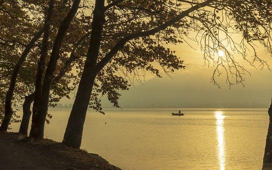 Sun, Morning, Lake, Atmosphere, Orange, Landscape