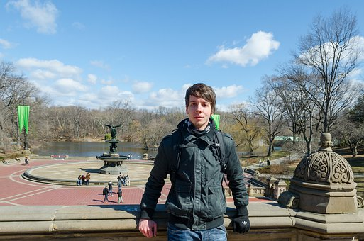 Student, Winter, Portrait, Central Park, New York, Nyc