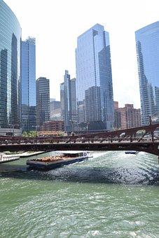 Chicago, River, City, Architecture, Skyscraper