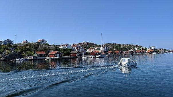 Sweden, Boat, Water, Lake, Port, Summer, Sky, Nature