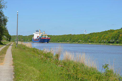 North-baltic Sea Channel, Ship, Summer, Water, Sky