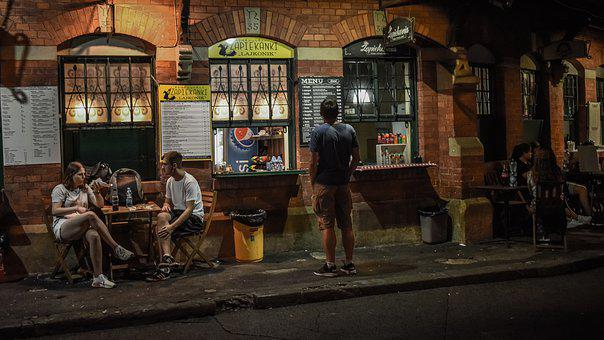 Square, Street, Cantine, Fast Food, Night, People