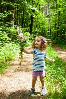 Flowers, Toddler, Girl, Nature, Cute, Summer, Female