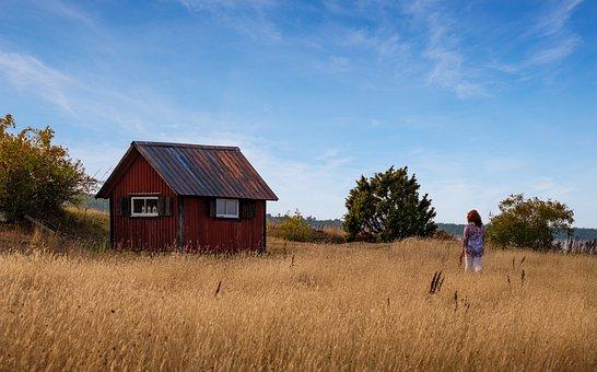 Woman, Walk, Go, Hiking, Fisherman's Hut, Hut, House