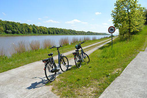 North-baltic Sea Channel, Summer, Bicycles, Water, Sky