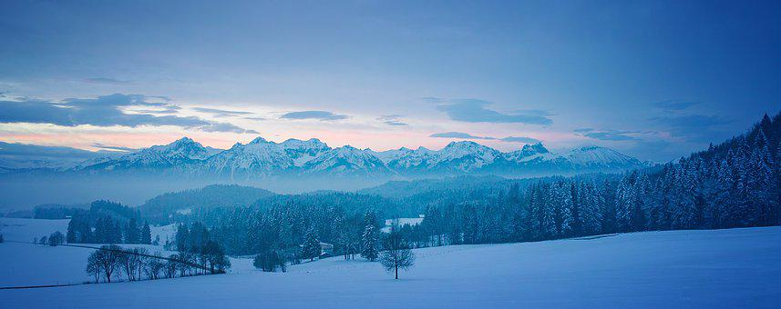 Alpine, Allgäu, Wintry, Mountains, Snow, Ice, Blue