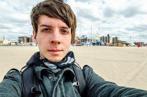 Coney Island, Nyc, New York, Boy, Head, Upper Body, Man